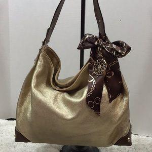 Michael Kors gold leather hobo bag